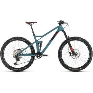 "Cube Stereo 140 HPC Race 27.5 Suspension Bike 2020 - Bluegrey - Red - 16.25"""